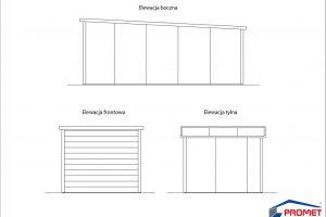rzut elewacji garażu z płyty warstwowej